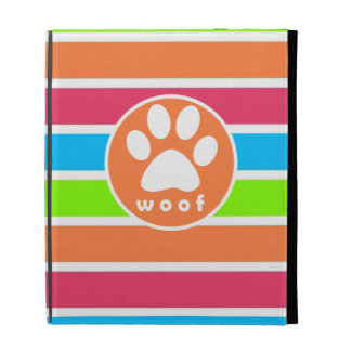 Dog, Woof; Neon Orange Pink Blue Green Stripes iPad Folio Covers