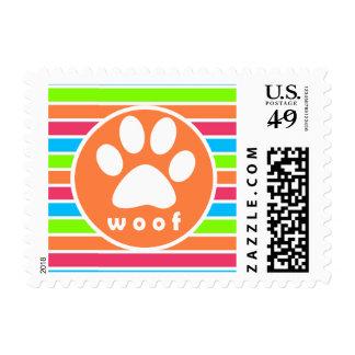 Dog, Woof; Neon Orange Pink Blue Green Stripes Postage