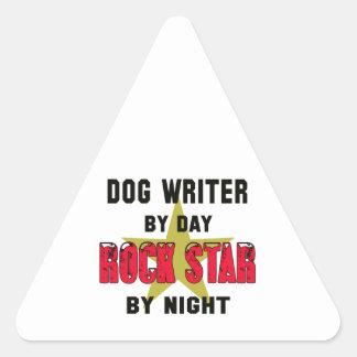 Dog writer by Day rockstar by night Triangle Sticker