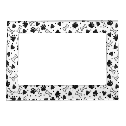 Dogbone Paw Prints in Black and White Picture Frame Magnets