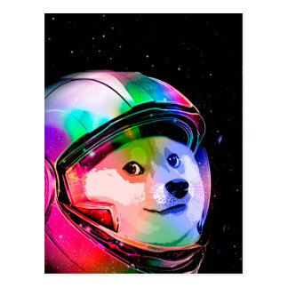 Doge astronaut-colorful dog - doge-shibe-doge dog postcard