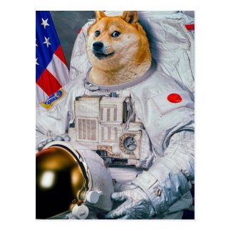 Doge astronaut-doge-shibe-doge dog-cute doge postcard