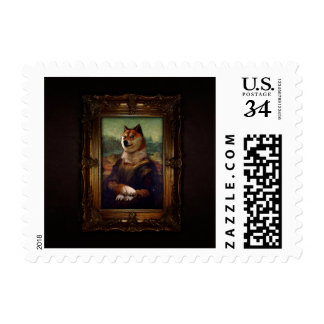 Doge Mona Lisa Fine Art Shibe Meme Painting Postage