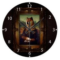 Doge Mona Lisa Fine Art Shibe Meme Painting Wall Clock