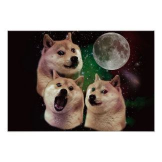 Doge moon - doge space - dog - doge - shibe poster