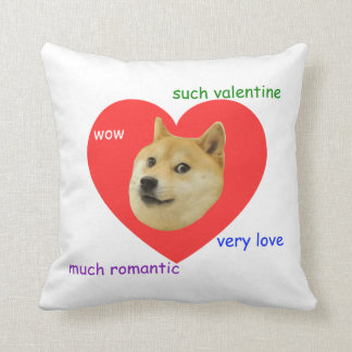 Doge Much Valentines Day Very Love Such Romantic Throw Pillow