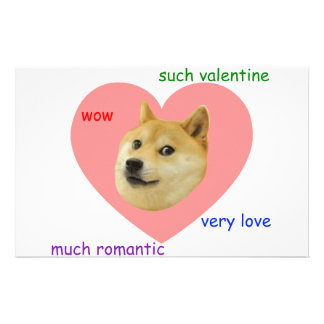 Doge Much Valentines Day Very Love Such Romantic Stationery