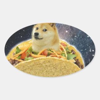 doge space taco meme oval sticker