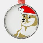 doge wow meme very xmas such hat many santa round metal christmas ornament