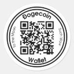 Dogecoin Wallet QR Code Round Sticker