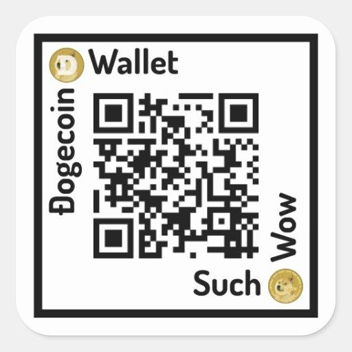 Dogecoin Wallet QR Code Square Sticker