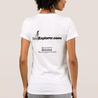 DogExplorer Ladies Casual White Scoop T-Shirt