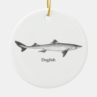 Dogfish (line art) ceramic ornament
