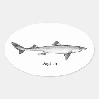 Dogfish (line art) oval sticker
