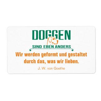 Dogge alemán pegatina de carta etiqueta de envío