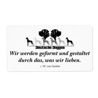 Doggen alemanes pegatinas de carta etiqueta de envío