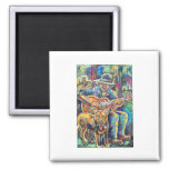 doggie blues 2 inch square magnet