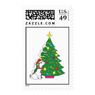 Doggie Christmas Tree Postage Stamp