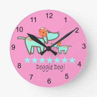 Doggie Dog Round Wall Clock pink