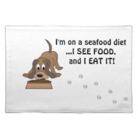 Doggie Humor-Cute Puppy Dog Food Cloth Placemat