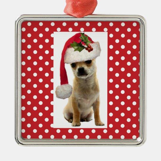 Doggie in Santa Cap Xmas Ornament