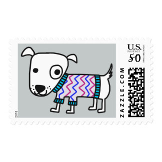 Doggie in Sweater postage stamps