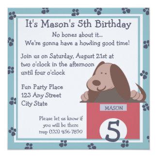 """Doggie Tales/ Party 5.25"""" Square Invitation Card"""
