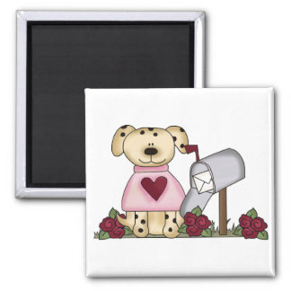Doggie Valentine's Day Tshirts and Gifts 2 Inch Square Magnet