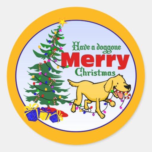 Doggone Christmas | Round Stickers