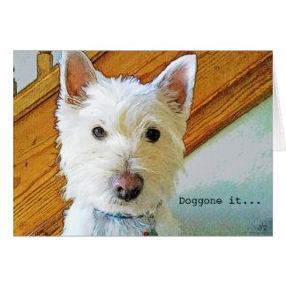 Doggone it, Happy Belated Birthday, Westie Dog Card
