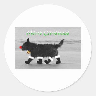 doggy christmas card classic round sticker