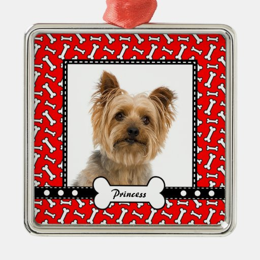 Doggy gift christmas dog bone red photo template metal for Dog bone ornaments craft