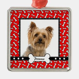 Doggy Gift - Christmas Dog Bone Red Photo Template Square Metal Christmas Ornament