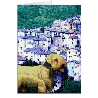 """Doggy Goes to an Italian Village"" Card"