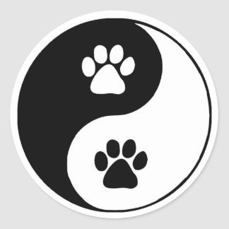 Doggy Paws Yin Yang Symbol Classic Round Sticker