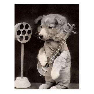 Doggy Radio Star Postcard