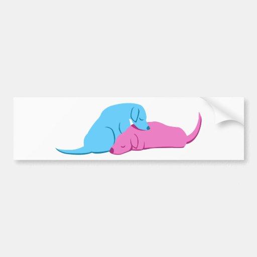 Doggy Snuggle Car Bumper Sticker