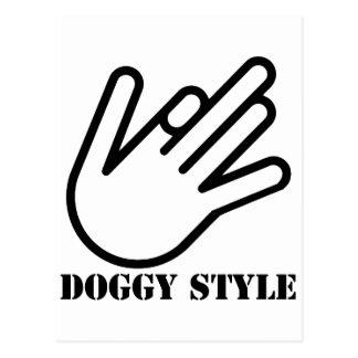Doggy style hand postcard