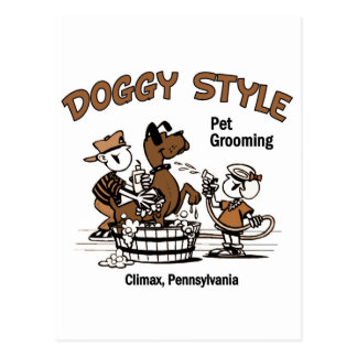 Doggy Style Pet Grooming Postcard