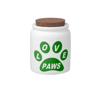 Doggy Treat Jar Love Paws on Paws Green Candy Dishes