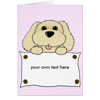 doggy with a notice board card