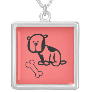 Doggy with Bone Square Pendant Necklace