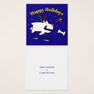 Doggy with Dragonfly Happy Holidays Square Business Card