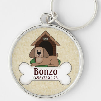 Doghouse and Pooch Dog ID Tag Silver-Colored Round Keychain
