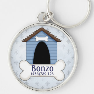 Doghouse in Blue Dog ID Tag Silver-Colored Round Keychain