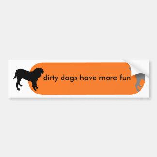 "Dogism's ""Dirty Dogs"" Orange Car Bumper Sticker"