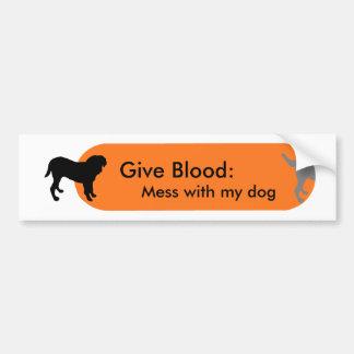 """Dogism's """"Give Blood"""" Orange Bumper Sticker"""