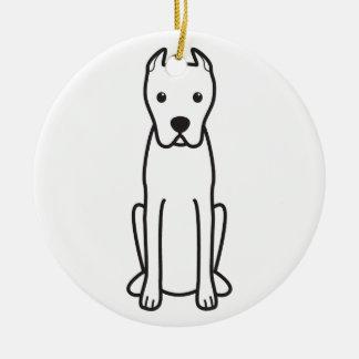 Dogo Argentino Adorno Navideño Redondo De Cerámica