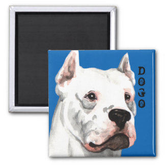 Dogo Argentino Color Block 2 Inch Square Magnet