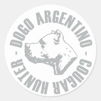 DOGO ARGENTINO COUGAR HUNTER CLASSIC ROUND STICKER